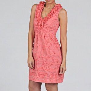 Tiana B. ruffle v neck geometric appliqué dress